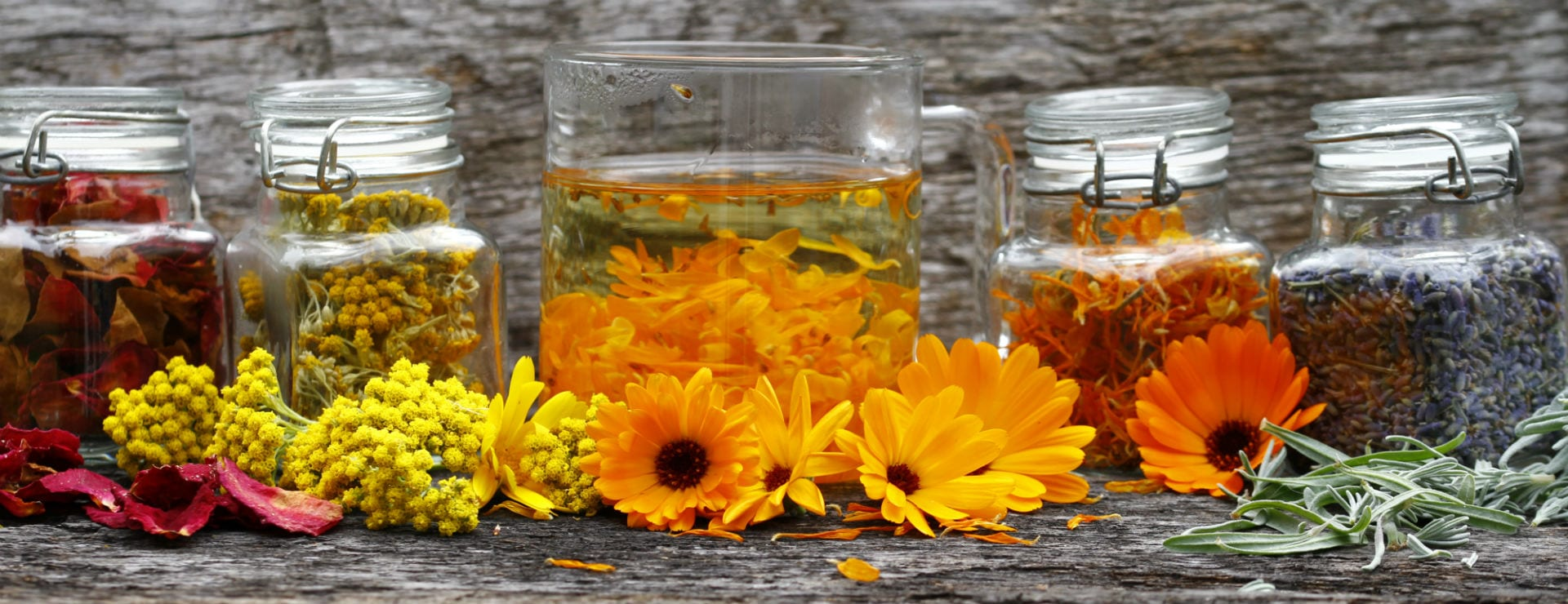 calendula petals in jars